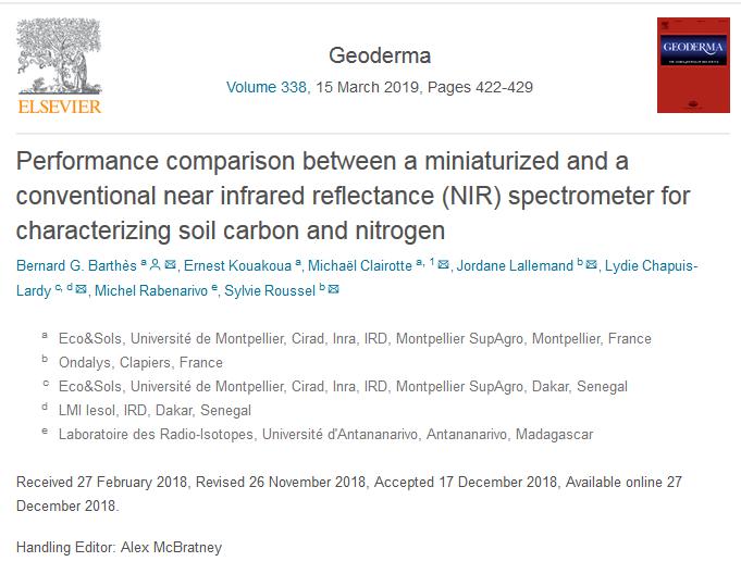 publication comparaison micro-spectromètre et spectromètre de laboratoire