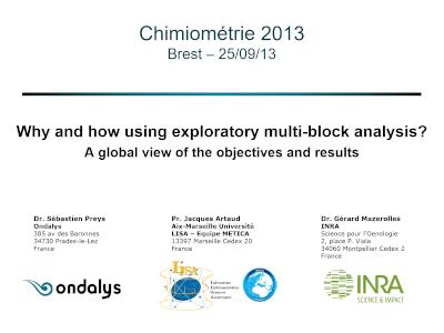 Conference Chimiométrie 2013