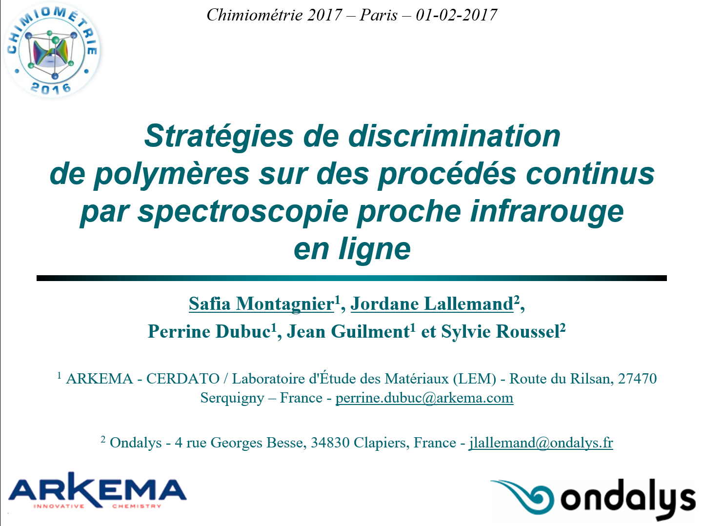 Conference Chimiométrie 2017
